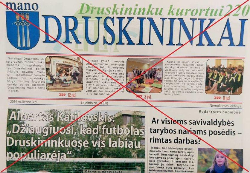 """Laikraštis """"Mano Druskininkai"""" yra leidžiamas neteisėtai"""