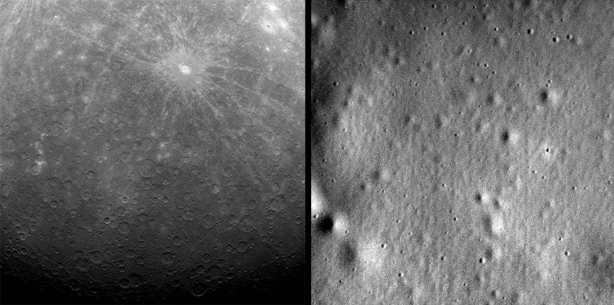 """Pirma (2011 m.) ir paskutinė (2015 m.) """"Messenger"""" daryta Merkurijaus nuotrauka"""