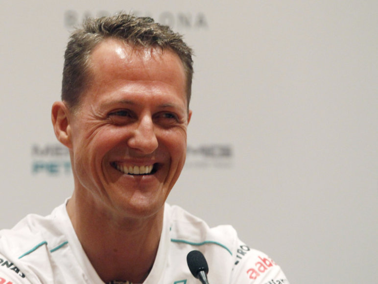 Mercedes Formula One driver Michael Schumacher of Germany attends a promotional event ahead of the Spanish F1 Grand Prix in Barcelona in this May 10, 2012 file picture. Formula One champion Michael Schumacher suffered a serious head injury while skiing in the French Alps resort of Meribel, French me