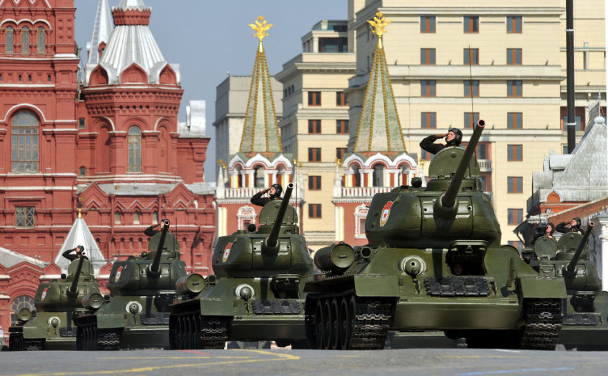 Russian T-34 tanks drive through Red Square during the Victory Day parade in Moscow on May 9, 2010. Troops from four NATO states marched through Red Square for the first time Sunday as Russia marked victory in World War II with its biggest military parade since the collapse of the Soviet Union. AFP