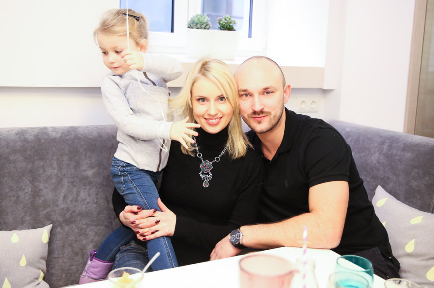 Dainė Baumilė su vyru Donatu ir dukra Smilte
