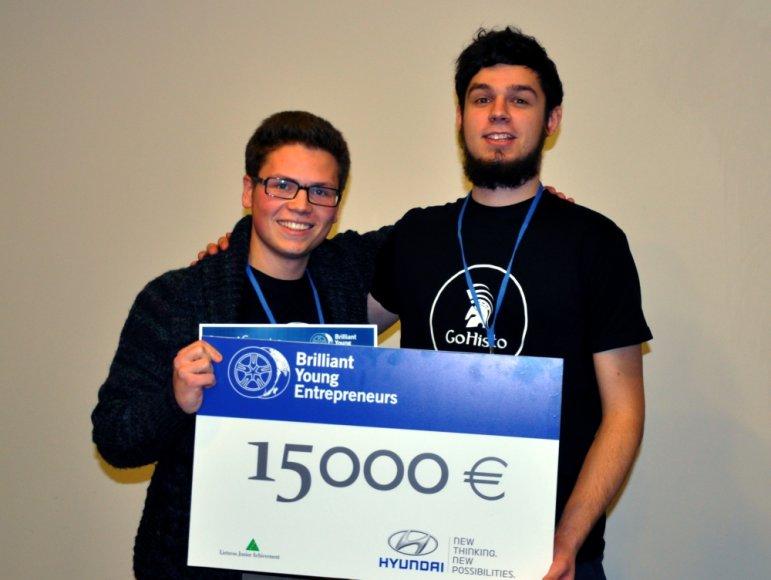 Metų pradžioje Julius Pauliukevičius ir Simas Jaskutėlis laimėjo Hyundai Brilliant Young Entrepeneurs konkursą
