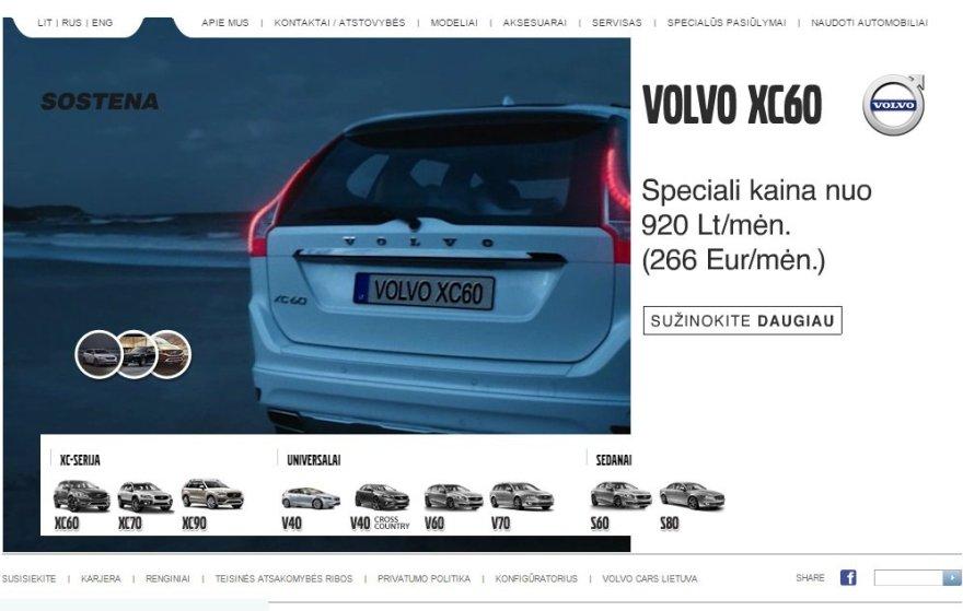 """""""Volvo"""" atstovybės tinklalapis"""