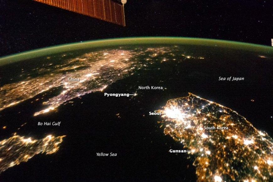Šiaurės ir Pietų Korėjos iš kosmoso