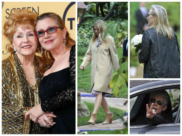 Gwyneth Paltrow, Meryl Streep ir Jamie Lee Curtis renkasi į atsisveikinimo su Debbie Reynolds ir Carrie Fisher ceremoniją
