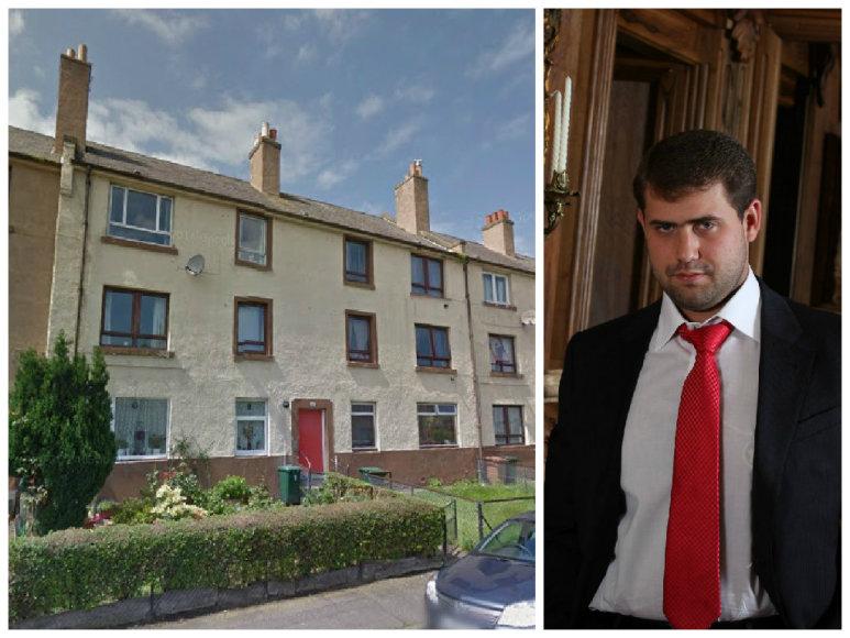 """Šiame name Edinburge yra butas, kuriame du lietuviai """"iškepė"""" šimtus įmonių, bent dvi iš jų tiesiogiai dalyvavo galbūt didžiausioje aferoje per Moldovos istoriją, kurios centrine figūra įvardijamas milijonierius Ilanas Šoras"""