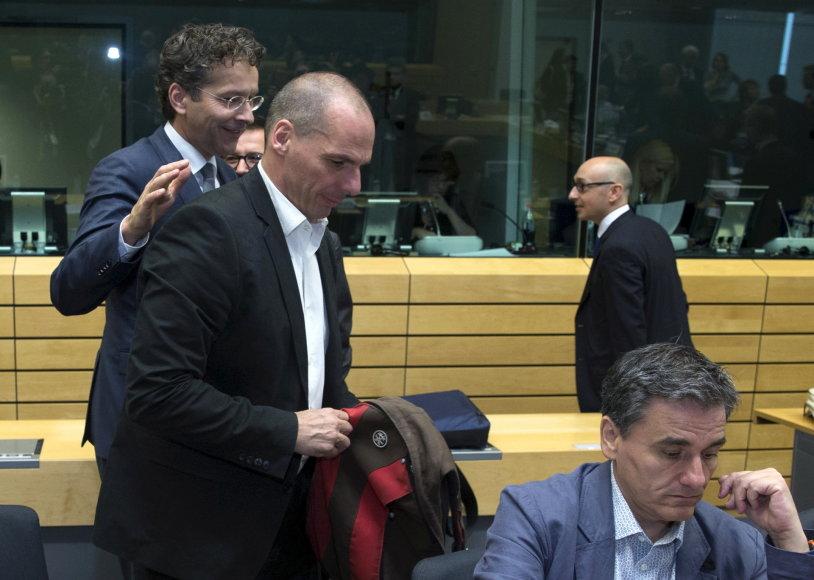 Eurogroupės vadovas Jeroenas Dijsselbloemas ir Graikijos finansų ministras Yanis Varoufakis