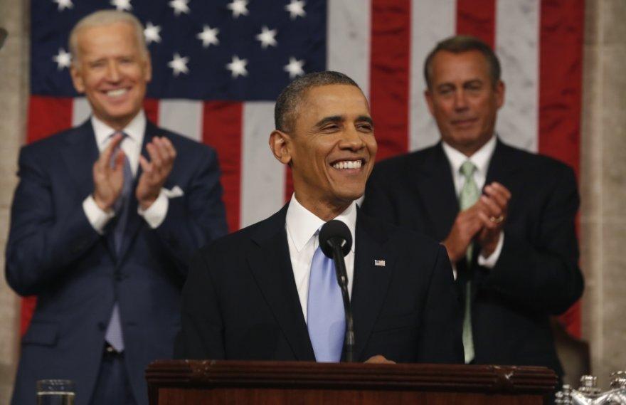 JAV prezidentas Barackas Obama skaito savo metinį pranešimą