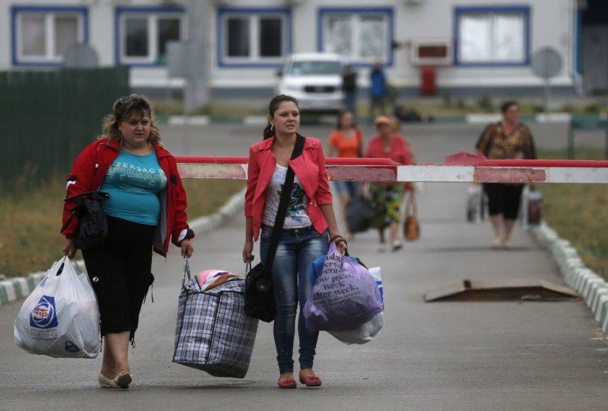 Iš Ukrainos į Rusiją perėjusios moterys.