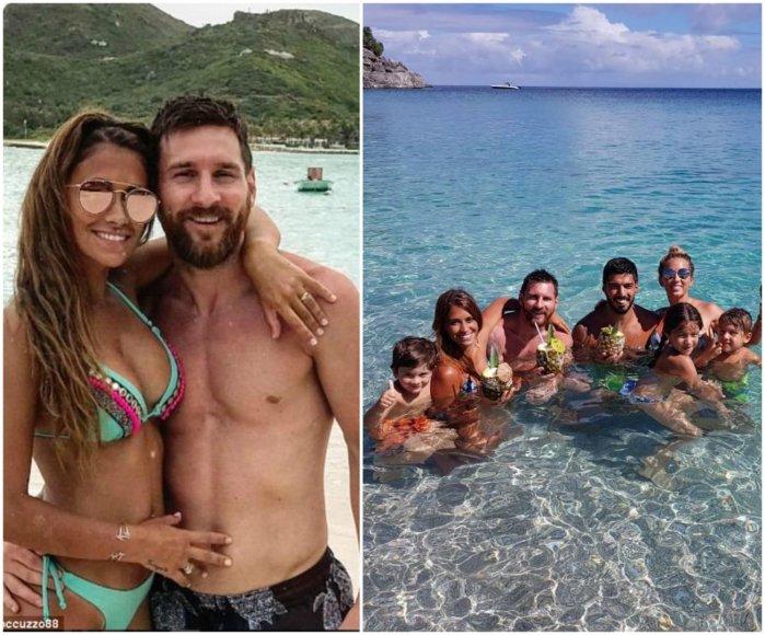 Lionelis Messi su žmona Antonella, Luiso Suarezo šeima