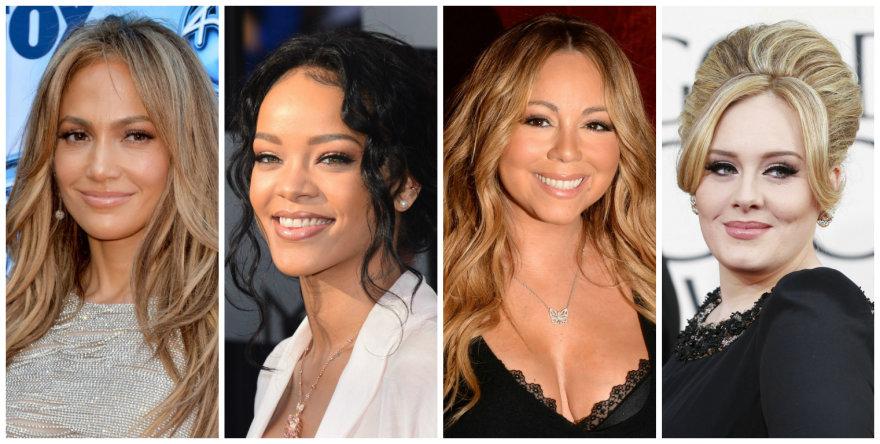 Jennifer Lopez, Rihanna, Mariah Carey ir Adele