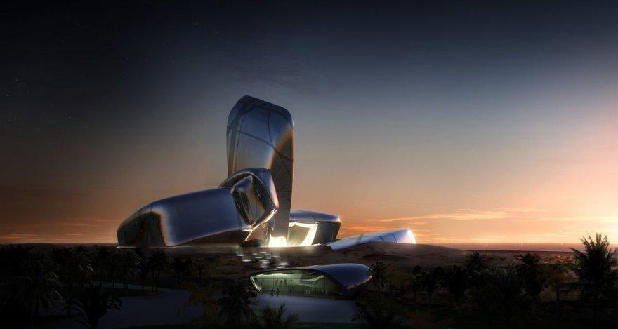 """Karaliaus Abdulazizo centro pastatas – vertikaliu segmentu viduryje akcentuota milžiniškų """"akmenų"""" architektūrinė kompozicija"""