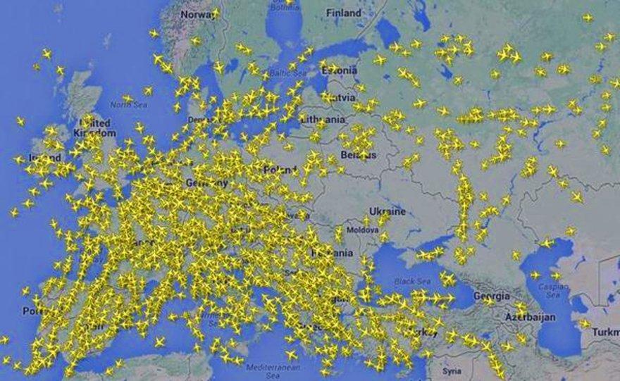 Žemėlapyje – tuščias dangus virš Ukrainos.