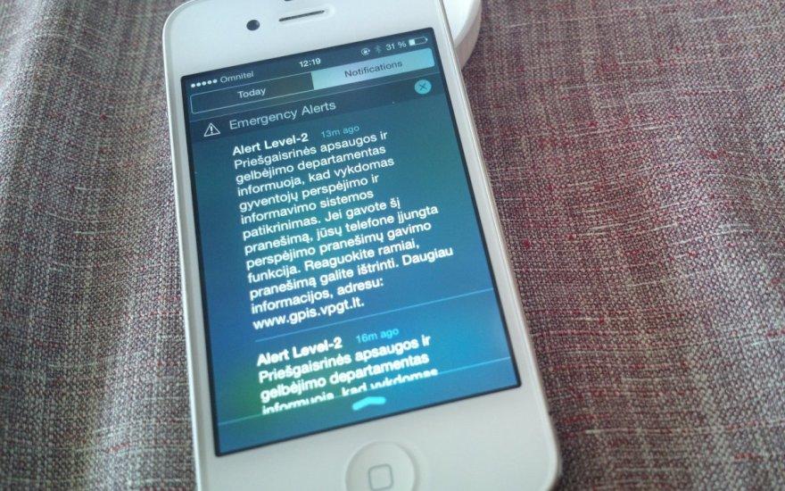 GPIS pranešimas mobiliajame telefone
