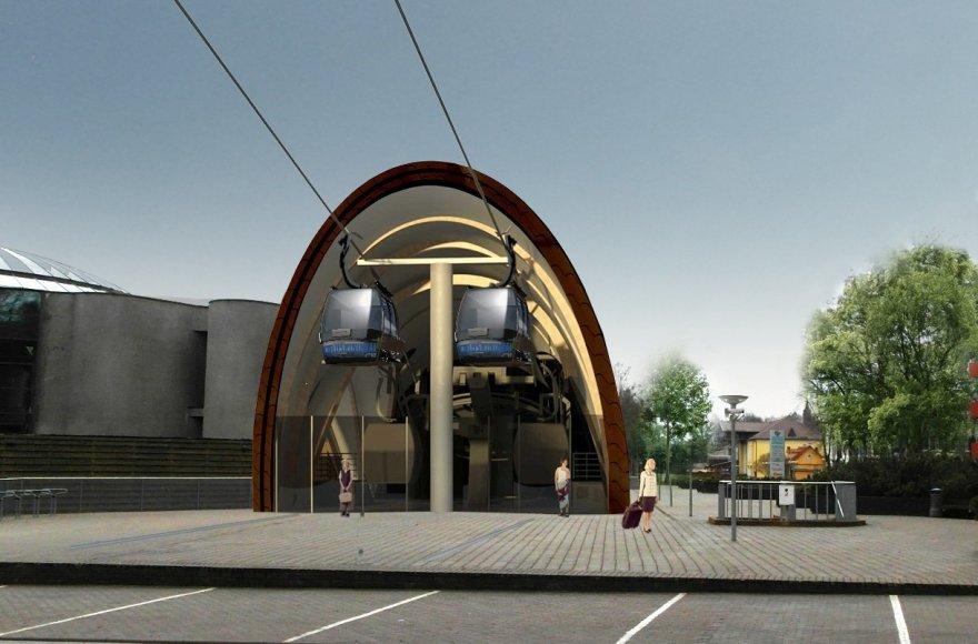 Būsimo ekologiško keltuvo Druskininkuose stotelės vizualizacija