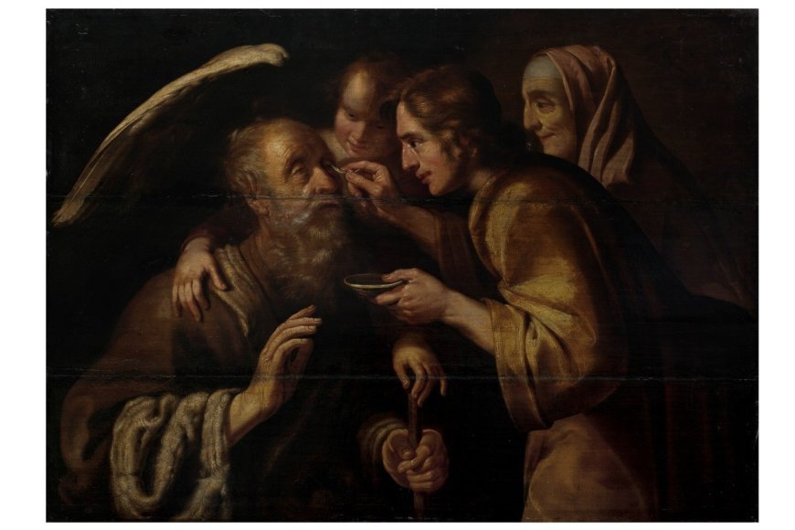 """Kun. R.Mikutavičiaus kolekcijos paveikslas: Jano Rutgers'o van Niwaelo """"Tobijas išgydo tėvo akis"""""""