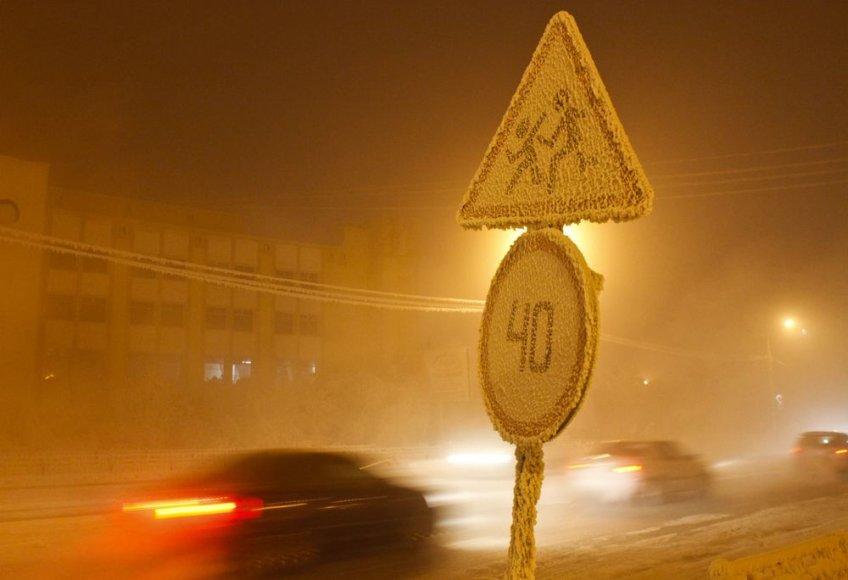 Šalčio sukaustytas Jakutsko miestas