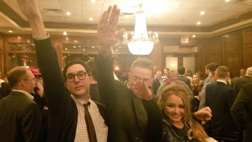 """""""Facebook"""" nuotr./JAV neonaciai D.Trumpo pergalę prezidento rinkimuose šventė nacių saliutais"""
