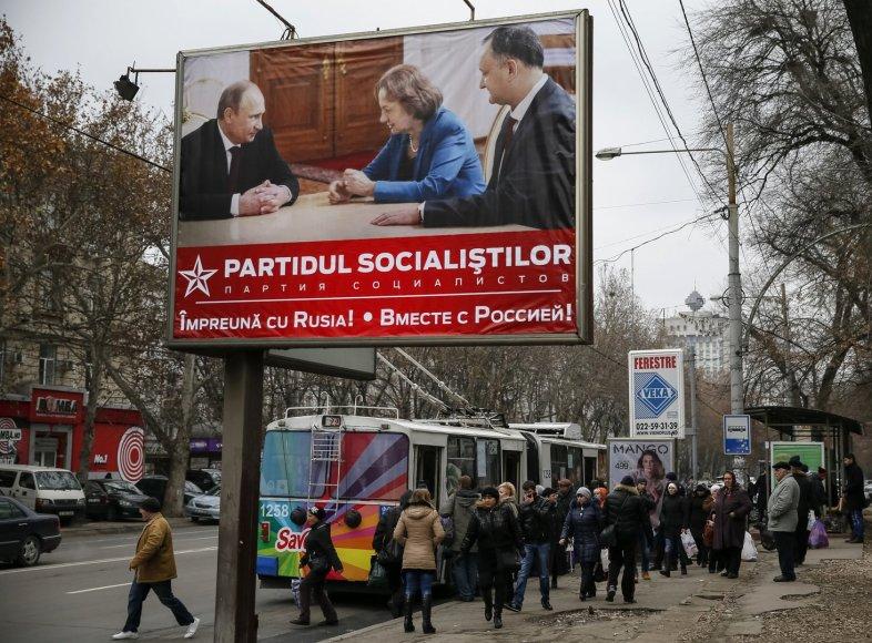 Socialistų partijos plakatas Moldovoje