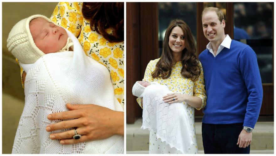 Kembridžo hercogienė Catherine ir princas Williamas su dukra Charlotte