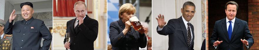 Kim Jong-unas, Vladimiras Putinas, Angela Merkel, Barackas Obama