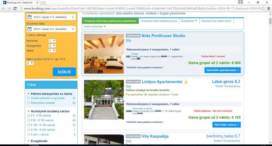 Apartamentų Nidoje kaina dviem paroms – 900 eurų