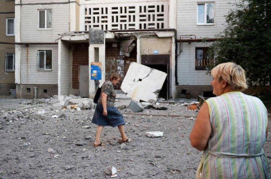 Apgadintas įėjimas į daugiabutį Donecke