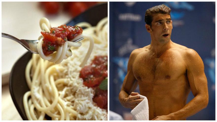 Michaelas Phelpsas stebina suvartojamų kalorijų kiekiu.