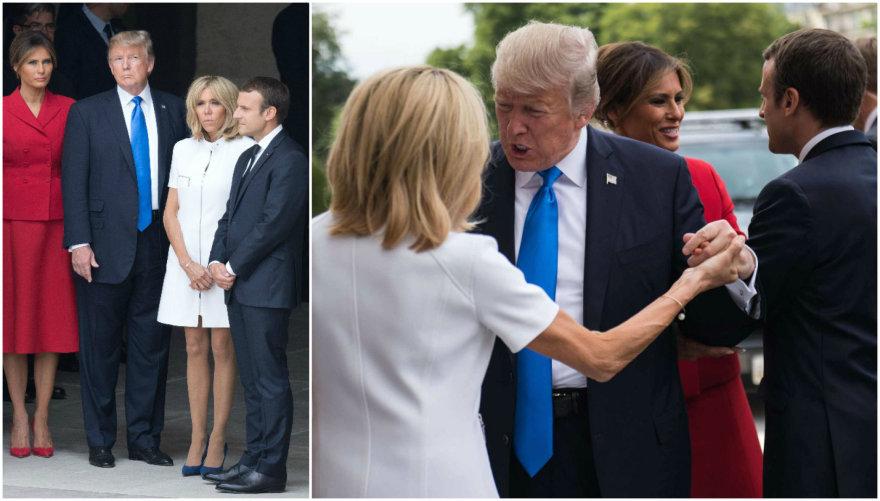 Emmanuelis Macronas su žmona Brigitte ir Donaldas Trumpas su žmona Melania