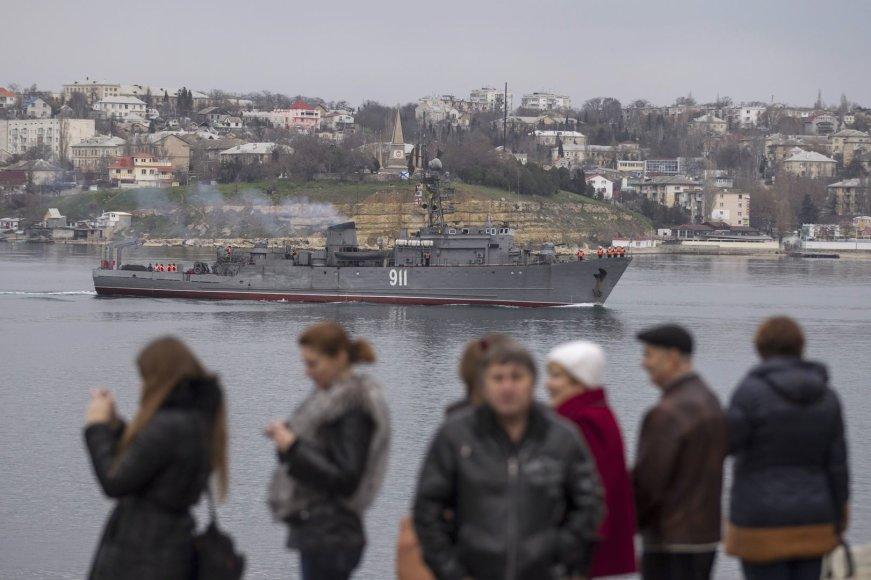 Rusijos karinis laivas Sevastopolyje