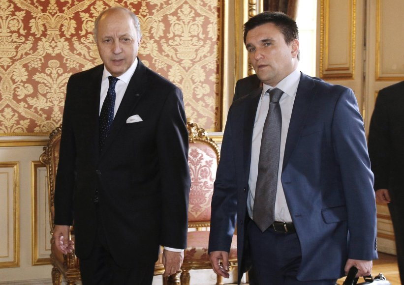 Laurentas Fabiusas ir Pavlo Klimkinas.