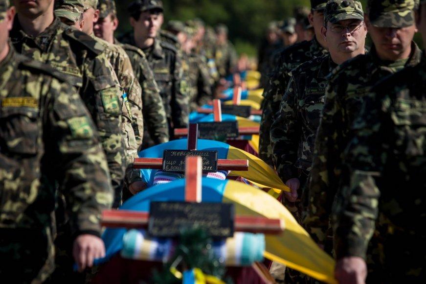Žuvusių Ukrainos karių karstai