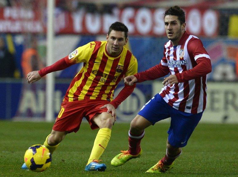 """""""Barcelona"""" lyderis Lionelis Messi ir """"Atletico"""" žaidėjas Koke"""
