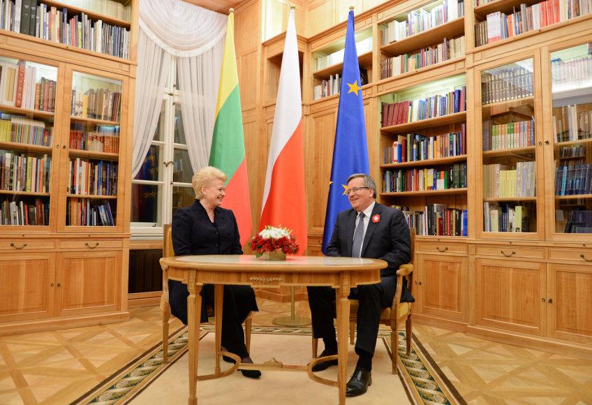 Dalia Grybauskaitė su Lenkijos prezidentu Bronislowu Komorowskiu