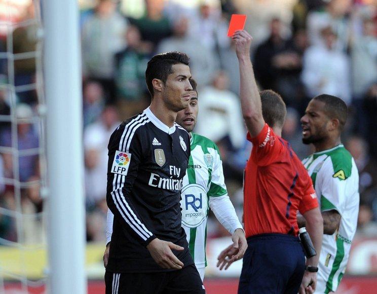 Cristiano Ronaldo gavo raudoną kortelę