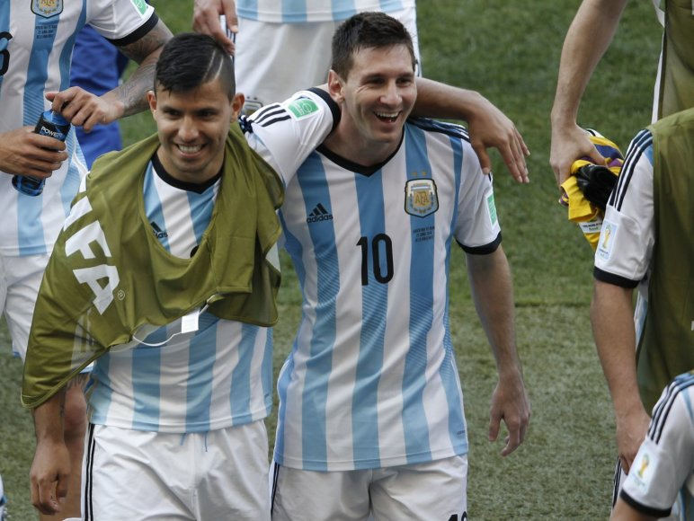 Sergio Aguero ir Lionelis Messi