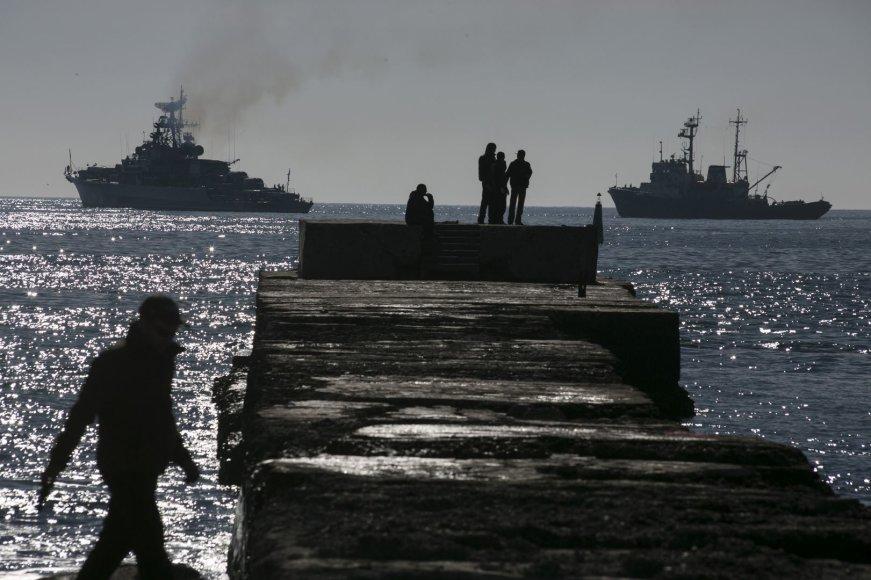 Donuzlavo ežeras, kur rusai blokuoja Ukrainos laivus