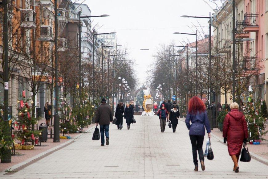 Šventiškai papuoštas Šiaulių pėsčiųjų bulvaras