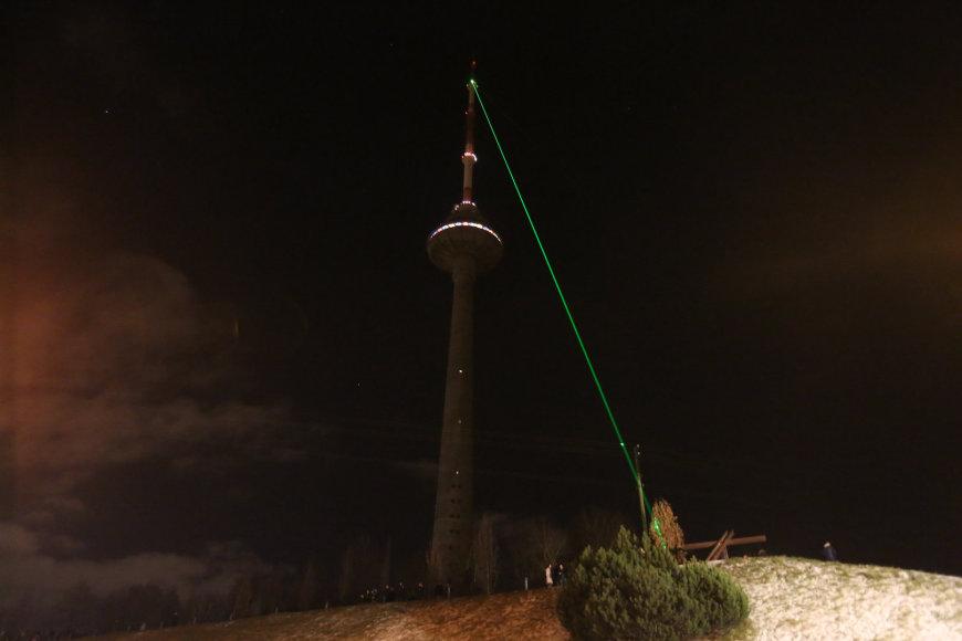 Lazeriais nušviestas Vilniaus TV bokštas