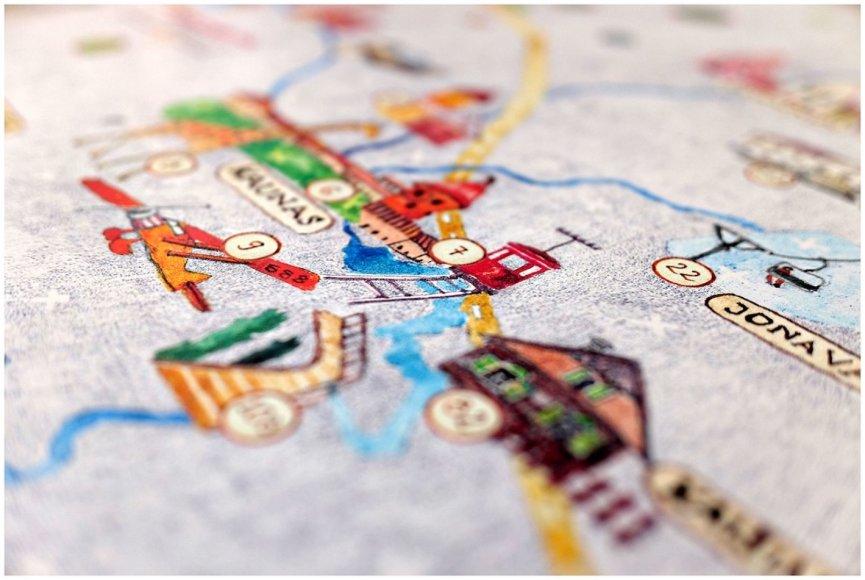 Projektas Lietuvon.lt pristatė ranka pieštą kelionių po Lietuvą žemėlapį vaikams