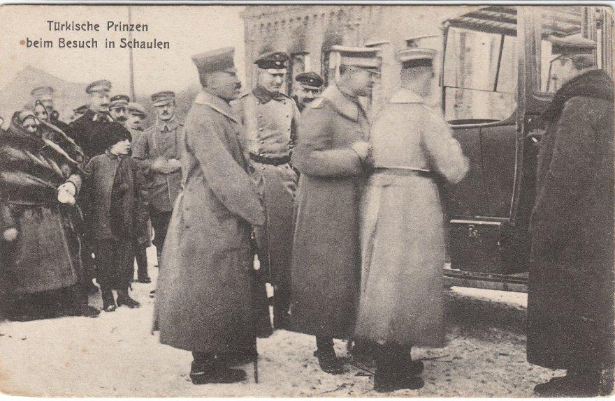 """Kolekcininko P. Kaminsko atviruko """"Turkų princo apsilankymas Šiauliuose"""" ir pašto voko aversai."""