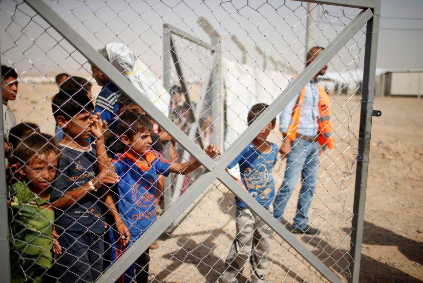 Irakiečiai vaikai pabėgėlių stovykloje