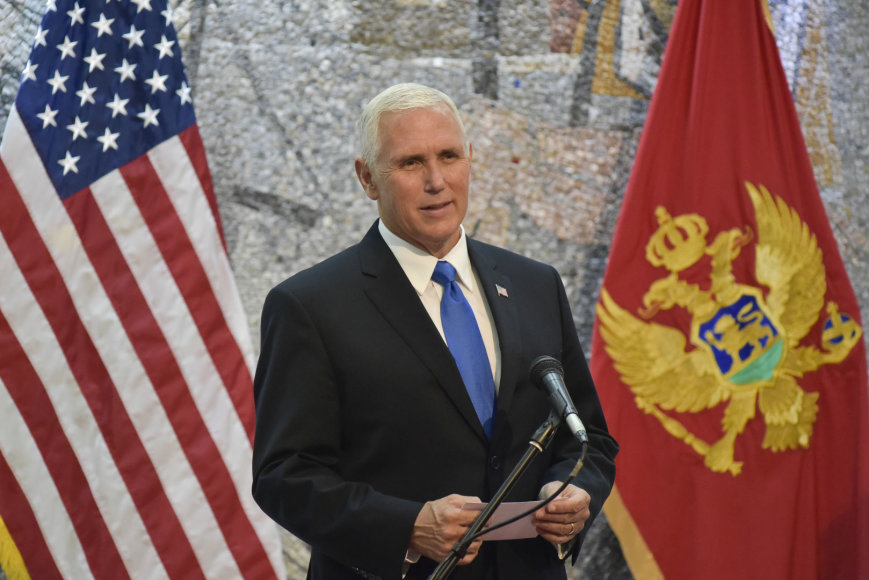 JAV viceprezidentas Mike'as Pence'as Juodkalnijoje