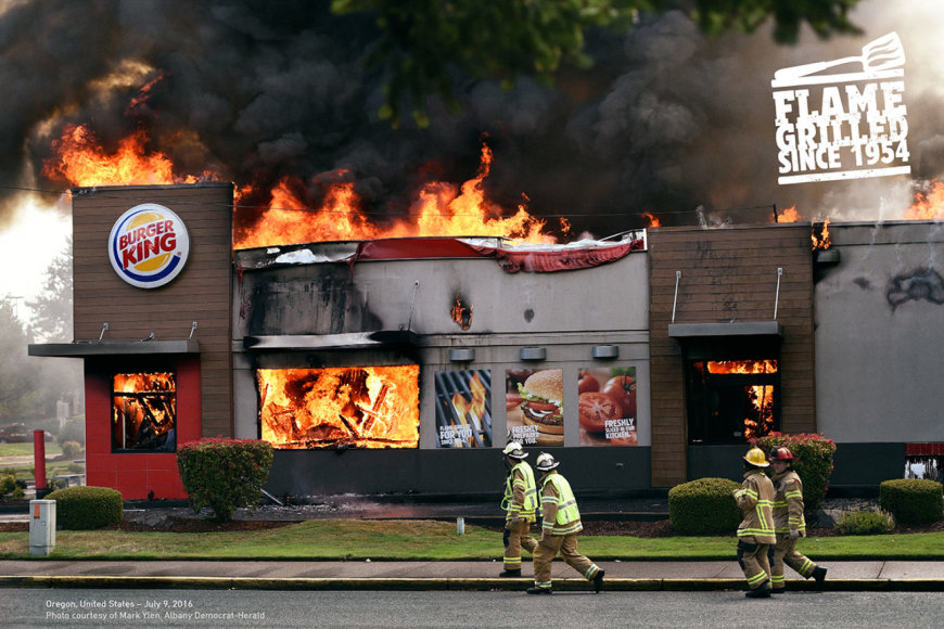 """A.Ramosas """"Burger King"""" reklamoje panaudojo degančių užkandinių nuotraukas"""