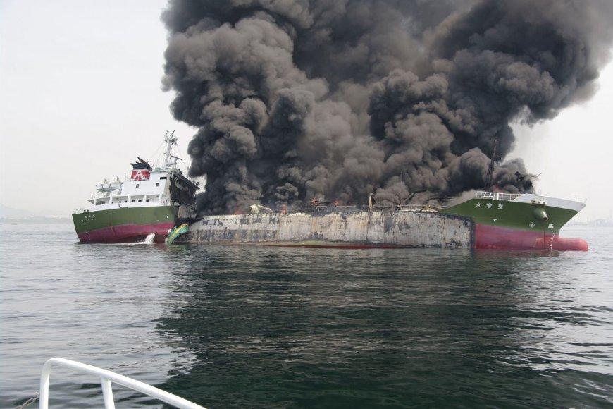 Tanklaivio gaisras Japonijoje