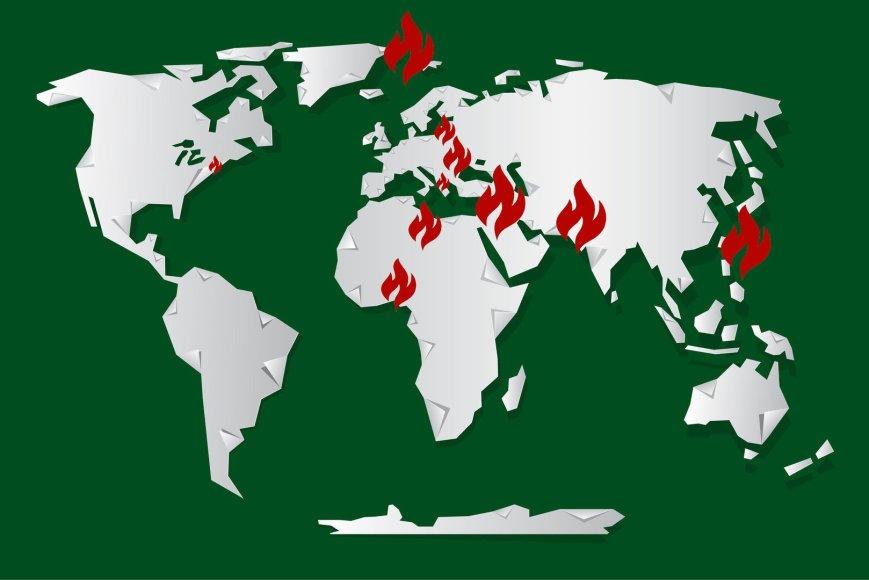 """Pasaulio žemėlapis su """"karštaisiais taškais"""""""