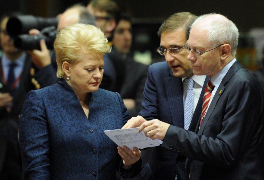 Dalia Grybauskaitė, Pedro Passos Coelho ir Hermanas van Rompuy