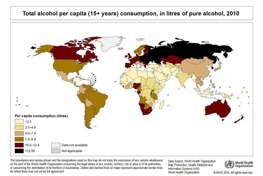 Alkoholio suvartojimas pagal valstybes
