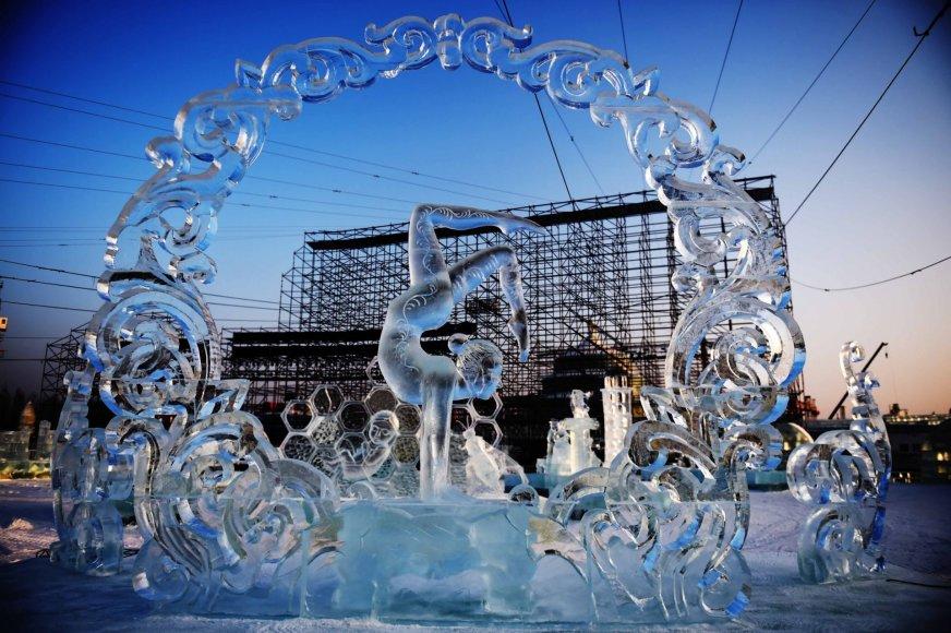 Harbine vykstantis ledo ir sniego skulptūrų festivalis