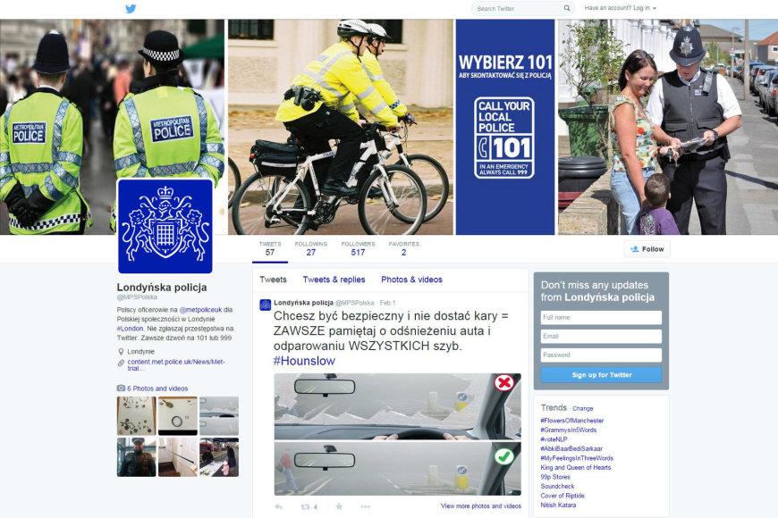 """Londono policijos """"Twitter"""" puslapis lenkiškai"""